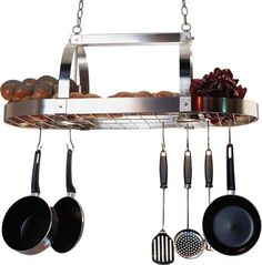 Functional pot rack features a satin nickel finish and includes ten hanging hooks. Rack uses two bulbs, not included. Save at Bellacor. Ikea Kitchen, Kitchen Dining, Dining Room, Pot Rack Hanging, Kitchen Lighting Fixtures, Lighting Sale, Discount Lighting, Updated Kitchen, Downlights