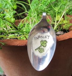 Garden marker from recycled spoons