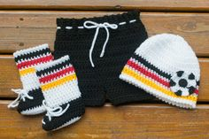 GERMANY SOCCER BABY Outfit Crocheted Beanie Hat by Grandmabilt
