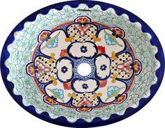 Cancun- Mexikanisches Einbauwaschbecken, handbemalt, mediterran-Stil, farbenfroh