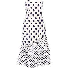 Saloni Alara polka-dot cloqué midi dress (4.648.515 IDR) ❤ liked on Polyvore featuring dresses, white, midi day dresses, midi dress, mid calf dresses, white polka dot dress and dot dress