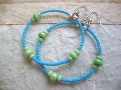 Hoop Earrings Blue and Lime Green Summer & by KidsAtHeartBeadShop