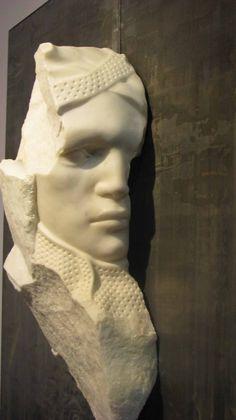 Michelangelo Galliani Sotto La Tua Pelle III Carrara statuary marble & lead 90 x 90 x 20 cm available at 3A The Excellence of Art