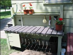 Potting bench with water