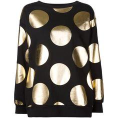Moschino polka dot sweatshirt ($660) ❤ liked on Polyvore featuring tops, hoodies, sweatshirts, black, boatneck sweatshirt, polka dot sweatshirt, black long sleeve top, moschino and moschino top