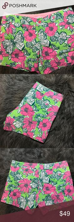 Lilly Pulitzer | Pink & Green Floral Shorts Brand new without tags | Never been worn or washed | Pink and lime green with floral and butterfly print | Women's size 12 | Open to reasonable offers 📦 add to a bundle & save!   Measurements Laying Flat  •waist• Approx. 18in •inseam• Approx. 4.5in •length• Approx. 13in Lilly Pulitzer Shorts