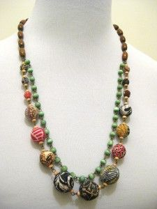 Batik Ori Necklace, a combination of stones, wood beads and beads wrapped in colorful batik fabrics