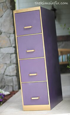 Spray paint & a prismatic plastic sheet are all it took to make a roadside file cabinet into beautiful textured storage.