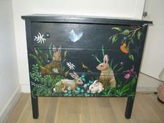 Dresser with hand painted bunnies