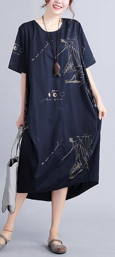 New black linen knee dressoversized linen clothing dress 2018