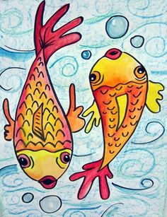 Warm Cool Colors Oil Pastel Koi Fish With Watercolor Resist Background