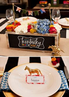 Rustic Garden Kentucky Derby Table Centerpiece and Gold Horses