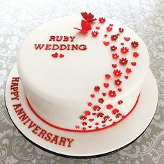 40th Ruby wedding cake