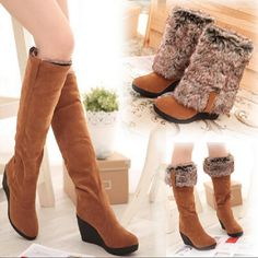 >> Click to Buy << Wedges High Boots Women Warm Black 3 Ways Wear Suede Knee-high Women Boots Fox Fur Fashion Snow Boots x682 #Affiliate