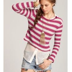 FREE PEOPLE Striped Sweater Free People Beach Striped Sweater. -Size Small. -Cropped length. -84% cotton/ 16% rayon -Excellent condition!   NO Trades. Please make all offers through offer button. Free People Sweaters Crew & Scoop Necks
