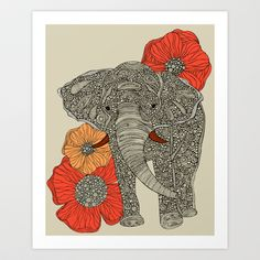 I prefer the other elephant print's details, but the flowers in the background make this one fit the space better. The Elephant Art Print by Valentina - $18.00