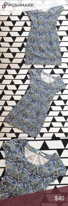 """J. Crew Paisley Cap Sleeve Scoopneck Dress Gently worn condition with no flaws - no tags. Fits like a US 4/6 or Small. Bust from pit to pit 17"""" (34"""" double), total length 34.5"""", Bodice length 15"""", Skirt length 19.5"""". Hidden zipper closure. Elastic sleeve hemline. J. Crew Dresses"""