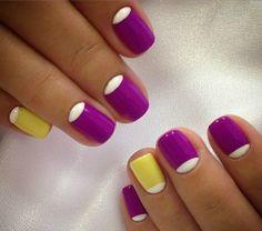 Beach nails, Beautiful moon nails, Bright moon nails, Bright summer nails, Half moon nails 2016, Moon nails by gel polish, Purple nails, Sea nails