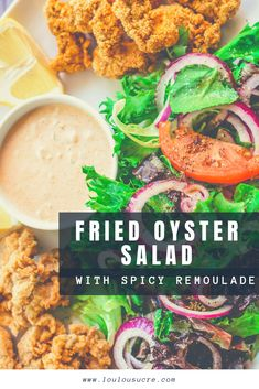 Fried Oyster Salad with Spicy Remoulade Sauce : loulousucre Creole Recipes, Cajun Recipes, Side Recipes, Dinner Recipes, Cajun Remoulade, Remoulade Sauce, Healthy Food, Healthy Eating, Healthy Recipes
