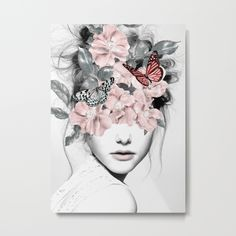 Available for purchase Woman With Flowers Painting Art Illustration Beautiful Interior Design Decorating Decor Black and White Butterfly Butterflies Portrait Pink Pretty Framed Art Prints, Canvas Prints, Wall Prints, Double Exposition, Art Design, Interior Design, Wood Wall Art, Tapestry, Wall Tapestries