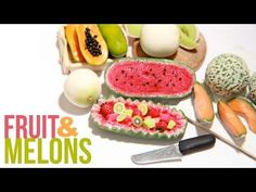 ▶ How To Make Miniature Melons - Polymer Clay - Cantaloupe, Honey Dew, Papaya, Watermelon - YouTube
