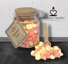 Candle Wax, Soy Wax Candles, Candle Melts, Cute Candles, Candle Craft, Diy Wax Melts, Scented Wax Melts, Jar Of Hearts, Candle Packaging