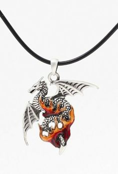 """Flame Dragon - Led-free Pewter Jewelry Necklace Collection by PacficGift. $12.99. 18"""" chain. Hand painted and polished. High: 1 1/2"""". Brand new. Made of high quality lead-free pewter"""