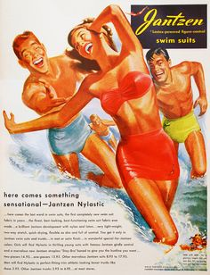 """Ha-Ha. HELP!!"" (Funny bad vintage swimsuit ads)"