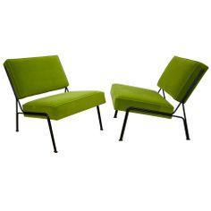 Pair of G2 chairs - Airborne Edition  :  Atelier de Recherches Plastiques.  Black lacquered metal, green wool velvet.  France       c1953