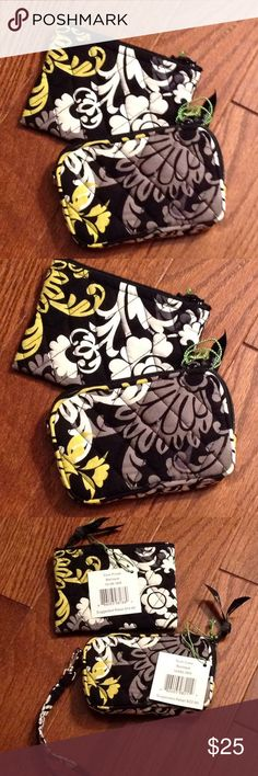 Vera Bradley Tech case and coin purse Set includes tech case measures 5 inches wide, 3 inches tall, zips on top detachable strap, slot on one side if interior. nWT, pattern is Baroque, coin purse measures 5 inches wide 3 1/2 inches tall, zips on top. Vera Bradley Accessories