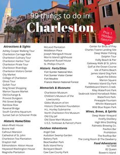 Here are 99 of the BEST Things to Do in Charleston, South Carolina (plus 1 Hidden Gem)!  Planning a visit to Travel+Leisure's #1 U.S. City? Look no further for a Bucket List of attractions, historic sites, outdoor adventures, and food/drink suggestions for the whole family to enjoy.  Charleston has something for everyone.  Head to my website for a downloadable PDF of the FULL LIST!  #charleston #travel South Carolina Vacation, Charleston South Carolina, South Carolina Attractions, Moving To South Carolina, Isle Of Palms South Carolina, Kiawah Island South Carolina, Folly Beach South Carolina, Charleston Sc Things To Do, Visit Charleston Sc