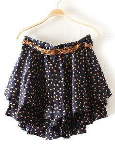 Navy Polka Dot Belt Above Knee Chiffon Skirt