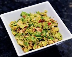 Brussel Sprouts with Bacon and Walnuts this is a great recipe. It is also very good if you saute 3 gloves of garlic in 3 Tabls. olive oil then add about 14 Brussel Sprouts cut  into ribbons saute than add  3 Tabls. Brown sugar and a little sea salt. I had some Whit Truffle Oil so i sis spritz some on to finish it. My hubby only eats Brussel sprouts with a cheese sauce he loved this.