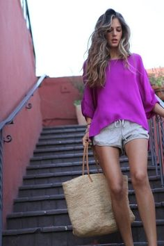 vacay look <3 #outfit #beach #beachy #coverup #vacation #resort #effortless #casual #chic #simple #relaxed #outfit #fashion #strawbag #bags #colors #purple #fuchsia