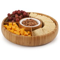 Dot & Bo Revolving Bamboo Chip and Dip ($50) ❤ liked on Polyvore featuring home, kitchen & dining, serveware, chip bowl, compartment tray, bamboo bowl, bamboo tray and bamboo platter
