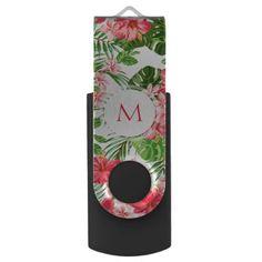 Custom Hibiscus Flower Tropical Monogram USB Flash Drive - chic design idea diy elegant beautiful stylish modern exclusive trendy