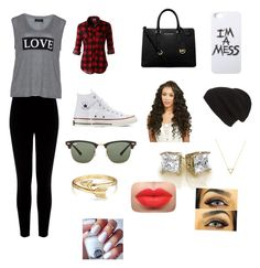 """Untitled#5"" by lhe02 ❤ liked on Polyvore featuring Warehouse, Carmakoma, LE3NO, Converse, MICHAEL Michael Kors, Phase 3, Ray-Ban, LAUREN MOSHI, Wanderlust + Co and Bling Jewelry"