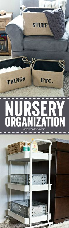 So many easy nursery organization ideas - perfect for an urban industrial themed nursery!
