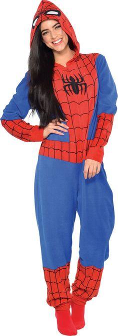 Adult Spiderman One Piece Pajama - Party City - Visit to grab an amazing super hero shirt now on sale! Spiderman Outfit, Marvel Pajamas, Pyjamas, Onesie Pajamas, Footie Pajamas For Adults, Christmas Footie Pajamas, Lazy Day Outfits, Cute Outfits, Kids Fashion