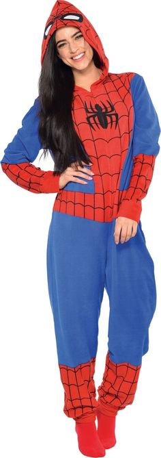 Spiderman One Piece Pajama for Adults - Halloween City