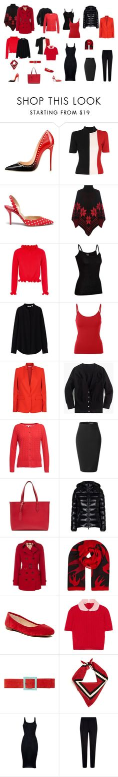 """red story"" by cokie61 on Polyvore featuring Solace, Paul Andrew, WearAll, Icebreaker, Uniqlo, STELLA McCARTNEY, J.Crew, Barbour, LE3NO and Burberry"