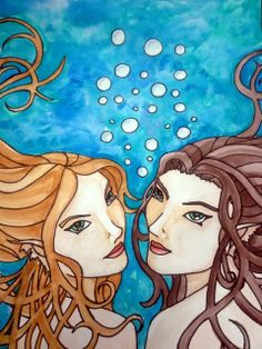 Mermaid Sisters watercolor