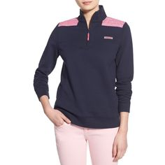 Vineyard Vines 'Shep - Whale Stripe' Quarter Zip Pullover ($125) ❤ liked on Polyvore featuring vineyard navy and vineyard vines