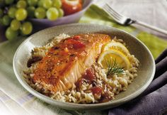 In less than 30 minutes you can enjoy this tender baked salmon, topped with a savory sauce that gently enhances the flavor without overwhelming it.