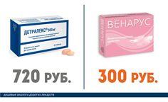 Это должен знать каждый! Дорогие лекарства и их недорогие аналоги! Детралекс (720 руб.) == Венарус (300 руб.)