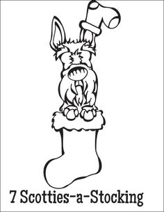 free coloring page download 7 scotties a stocking from the twelve dogs of christmas