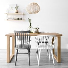 Kabe mesa comedor Sweet Home, Dining Room, Kitchen, Table, Furniture, Home Decor, Kitchen Living, White Table Top, Wood Chairs