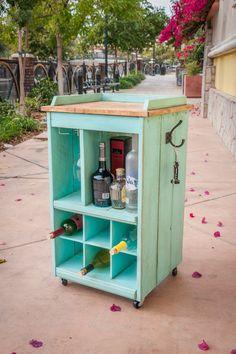 DIY Custom made liquor cabinet from reclaimed lumber