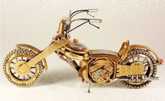 Motorbikes made from recycled watch parts Steampunk Motorcycle, Motorcycle Art, Motorcycle Design, Jeff Koons, Diy Furniture Making, Used Watches, Hells Angels, Metal Art, Cars And Motorcycles