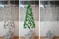 No real Christmas trees this year. Here are alternative Christmas tree ideas that will help you make your home decoration totally unique. Creative Christmas Trees, Hanging Christmas Tree, Christmas Tree Decorations, Christmas Tree Ornaments, Christmas Holidays, Christmas Crafts, Holiday Decor, Ornament Tree, Hanging Ornaments
